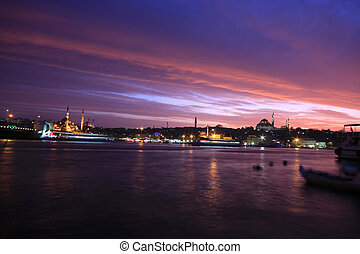 Popular places in Istanbul - Night view of popular places on...