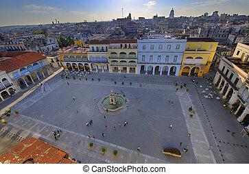 Popular Plaza Vieja in Old Havana, declared by UNESCO World heritage site since 1982. Taken on february 8th, 2010 in Old Havana, Cuba.