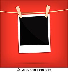 popular polaroid photo on wall isolated vintage vector