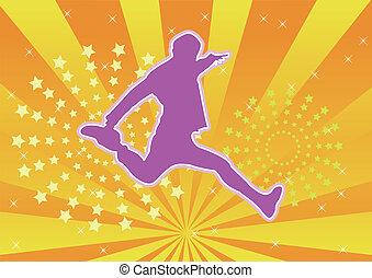 popular, pular, silueta, dançarino