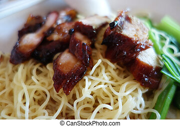 Popular Singapore Chinese street food, wantan mee