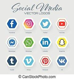 Collection of popular social media logos in hexagonal form. Instagram, facebook, twitter, youtube, whatsapp, pinterest, snapchat, linkedin, tumblr, messenger, vimeo, vk icons set.