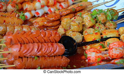 Popular Street Foods at an Open market in Thailand. Video 1080p