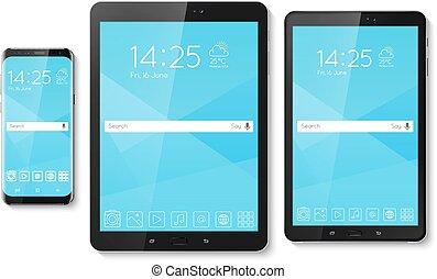 Popular top model of modern frameless smartphone and tablet....