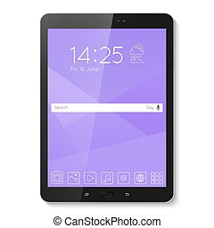 Popular top model of modern tablet. Technological template...