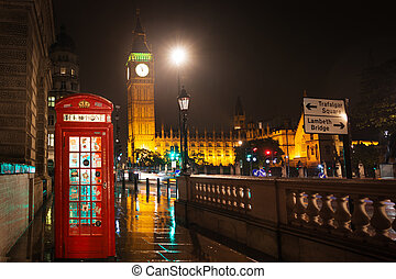 Popular tourist Big Ben and Houses of Parlament with red phone b