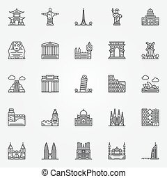 Popular travel landmarks icons - vector set of thin line...