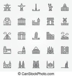 Popular travel landmarks icons - vector set of thin line...