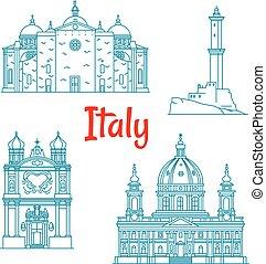 Popular travel landmarks of Italy thin line icon