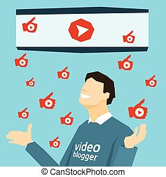 Popular Video Blogger With Like Thumb Up