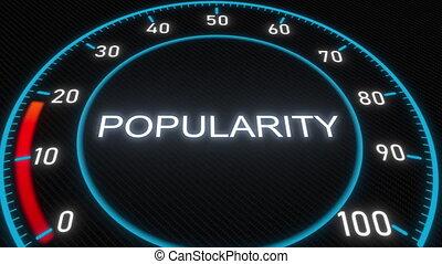 Popularity futuristic meter or indicator. Conceptual 3D...