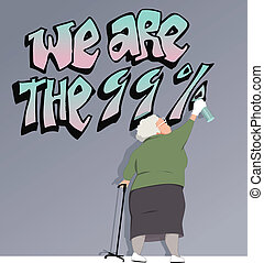Elderly woman draws graffiti slogan We are 99 percent on the wall, vector illustration