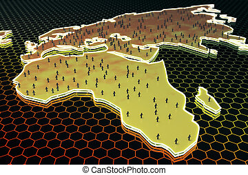 Population concept - Abstract map with small...