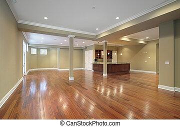 porão, com, cozinha, em, novo, construção, lar