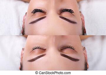 porównanie, oczy, rzęsa, extension., after., samica, przed
