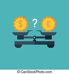porównanie, pojęcie, obarczanie, finanse, handlowy, waluta, dolar, bankowość, wektor, tabela, waga, euro