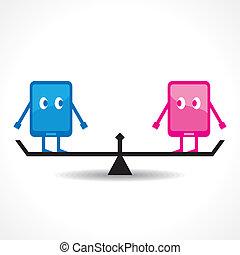 porównanie, tabliczka, dwa
