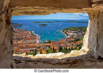 por, aéreo, bahía, vista, piedra, hvar, ventana