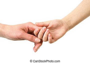 por, mãos