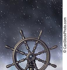 por, navegar, tormenta