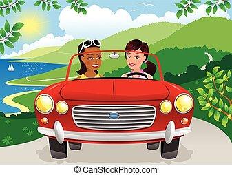 por, niñas, carretera, costero, conducción