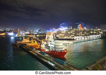 low everhead view of port of Nassau, Bahamas