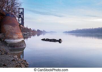 por, río, estructuras, misuri