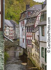 por, rur, río, alemania, casas, monschau