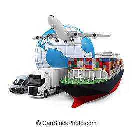 por todo el mundo, carga, transporte