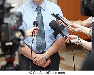 porada, povolání, novinářství, mikrofony, setkání
