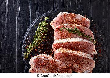 porc, assaisonnement, côtelettes, au-dessus, frais, vue