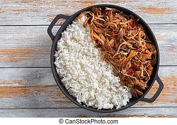 porc, basmati, four, grillé, riz, tiré