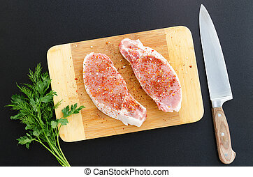 porc, découpage, filet, planche