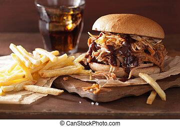 porc, salade chou, sauce, hamburger, fait maison, tiré, barbecue