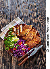 porc, salade, vertical, au-dessus, pépites, vue