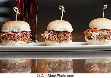 porc, sandwich, tiré, gros plan