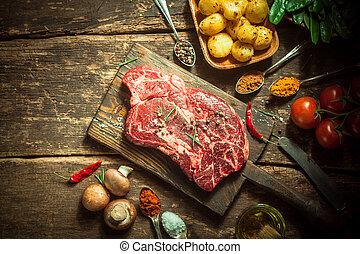 porc, viande, cru, végétariens, herbes, table, épices