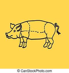 porca, ícone, vetorial, porca, silueta, isolado, loja...