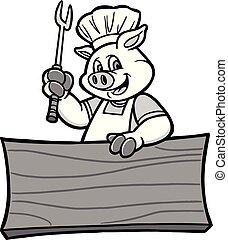 porca, bbq, ilustração, sinal