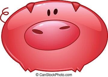 porca, caricatura, ícone