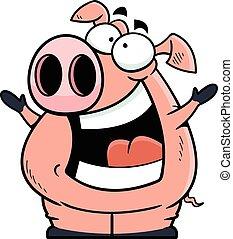 porca, caricatura, feliz