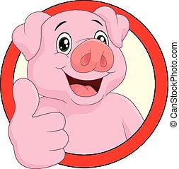 porca, caricatura, mascote