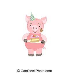 porca, cute, animal, personagem, assistindo, partido aniversário