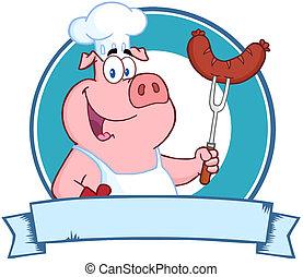 porca, segurando, cozinheiro, linguiça