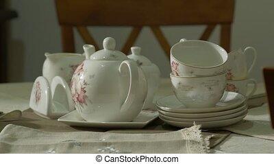 porcelán, antik, tea letesz