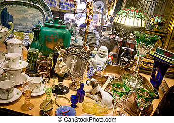 A table full of porcelain figures