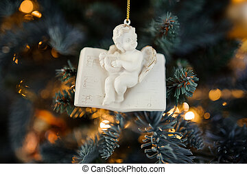 Porcelain Christmas tree decoration toy in the form of cute little angel