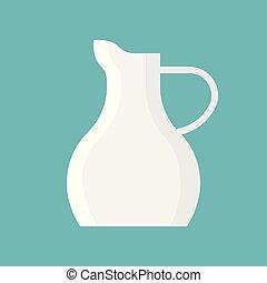 Porcelain Milk jug vector icon , flat design