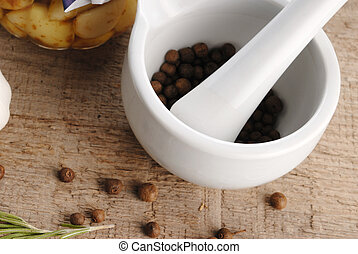 mortar and pestle - porcelain mortar and pestle with pepper...