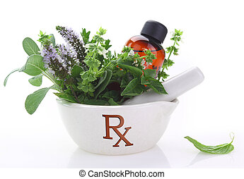 Porcelain mortar with rx symbol and fresh herbs